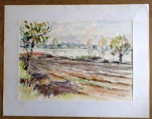 39 1987 aquarelle titrée datée dos Etang à Lapeyrouse d'après gouache du 29 09 87 format 36.5x51.5