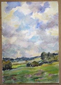 45 1999 aquarelle - titre et date au dos En Bugey  27-8-99 - Format 42x30