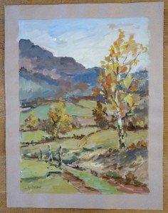 53 1984 gouache  titrée d'après aquarelle du 11 11 1984 au pied du Tourveon format 65x50