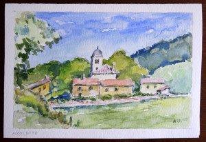 56 aquarelle signée A.P. non datée titrée Azolette format 15x22 (lettre de claudette Pardon)