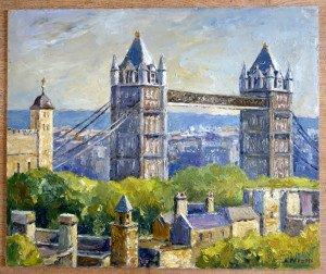 61 huile sur bois format 46x55 (tower bridge)