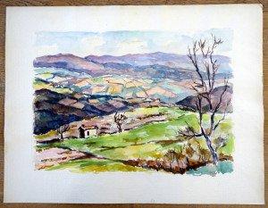 63 aquarelle sur papier gros grain non signée non titrée  format 65x50