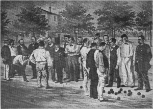 Partie de boules au Clos Jouve d'après un dessin de Labé (entre 1867 et 1874), L'Illustré du Sud-Est, 13 avril 1912