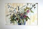 aquarelle sur papier dessin - titrée dos bouquet d'automne format (hors marquise) 25.5x37
