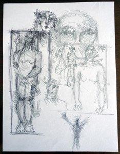 étude recto -stylo bille et crayon - format 28x21 (cadeau de l'artiste)