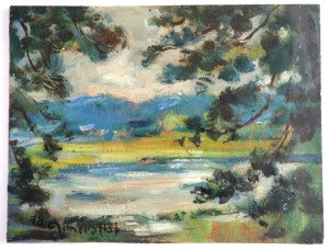 sur bois (étang 1978) format 11.5x22.5