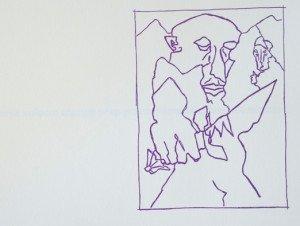 un des six dessins typographiés en violet