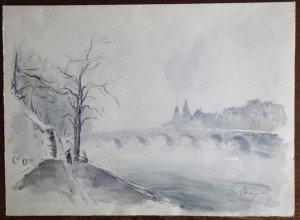 aquarelle signée sur papier imprimé Le Pont neuf format 28x38