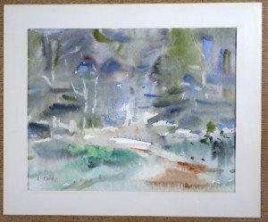 1990 aquarelle sur papier dessin tramé - sans titre - format 30x40 - daté dos 10-6-90