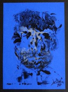 sur papier couché bleu format 36.5x26