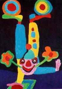 Clown anti-robot Une des quarante gravures du livre Appel Circus