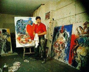 karel Appel dans son atelier